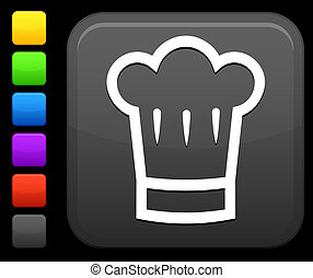 chef\'s hat icon on square internet button - Original vector...