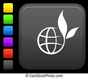 green globe icon on square internet button - Original vector...