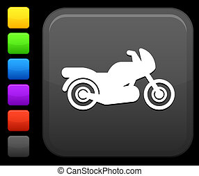 motorcycle icon on square internet button