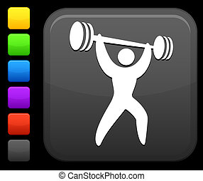 weight lifter icon on square internet button - Original...