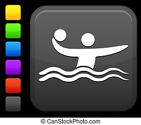 Water Polo icon on square internet button - Original vector...