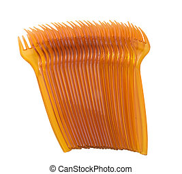 orange colored plastic forks