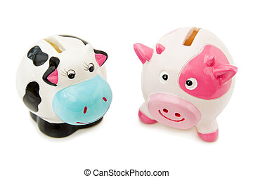 Cowie and Piggy money banks - Fight economic crisis by...