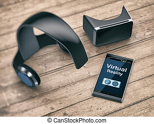 virtual reality technology - virtual reality headset with a...