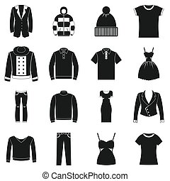 Clothes icons set, simple style