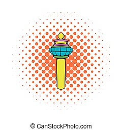 Airport control tower icon, comics style