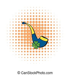 Smoky pipe icon, comics style - Smoky pipe icon in comics...