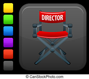 directors chair icon on square internet button