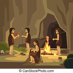 Cave people Vector flat illustration