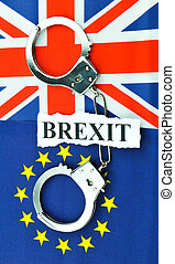 Brexit referendum concept with EU and UK flags and handcuffs