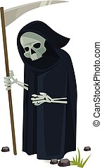 Angel of death with scythe Vector flat cartoon illustration