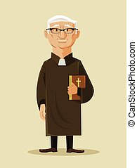 Catholic priest. Vector flat cartoon illustration