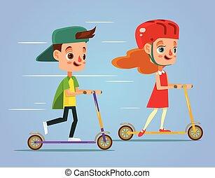 Children ride scooter