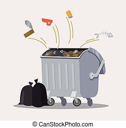 Trashcan. Vector flat cartoon illustration