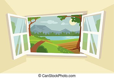 Open window. Vector flat cartoon illustration