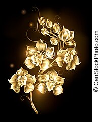 Shining golden orchid - artistically painted, golden orchid