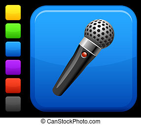 Microphone icon on square internet button - Original vector...