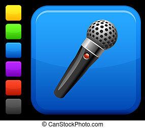 microfone, ícone, quadrado, Internet, botão