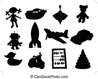 set of silhouettes of different toys