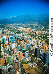 Panoramic view of Santiago de Chile and Los Andes mountain...