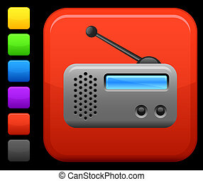 radio icon on square internet button