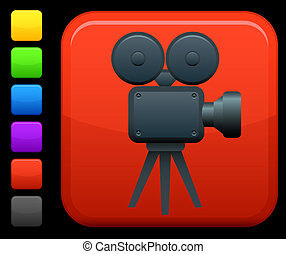 Video film camera icon on square internet button - Original...