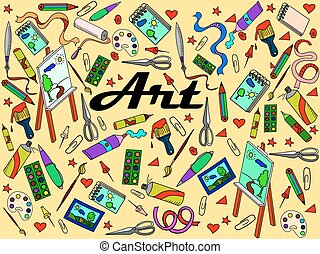 Stationery shop coloring book vector illustration -...