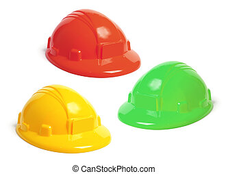 Toy Hard Hats on White Background