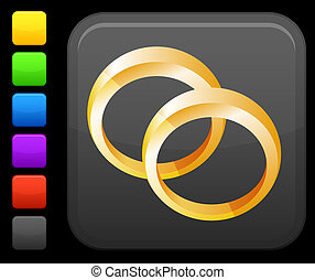 wedding bands icon on square internet button