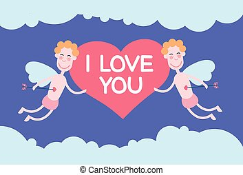 Two Valentine's Angels Flying Sky Hold Heart I Love You...