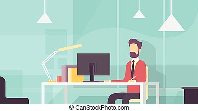 Business Man Sitting Desk Working Desktop Computer