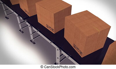 Packages sorted on conveyor belt. - Cardboard boxes on...