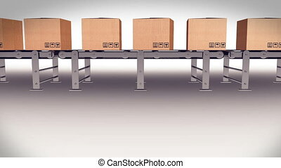 Shipping Boxes On A Conveyor Belt Shipping Merchandise
