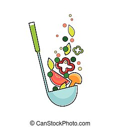 Soup Ladle With Vegetables, Kitchen Spoon Flat