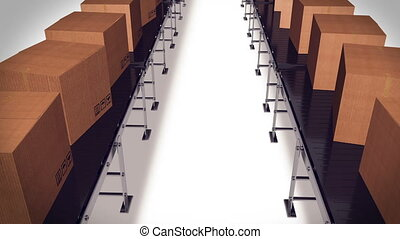 Packing and sorting industry Concept. Cardboard boxes on...