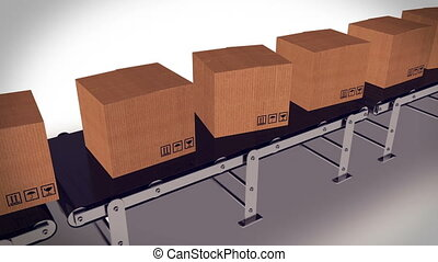 Automated shipment in a warehouse. - Conveyor belt with...