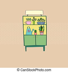 Shelf Home Furniture, Cupboard With Plants Flat Vector...
