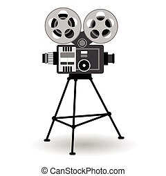 Retro Movie Projector Film Cinema Flat Vector Illustration