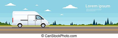 Commercial Van Car On Road Cargo Shipping Bus Delivery...