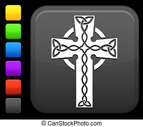 celtic cross icon on square internet button - Original...