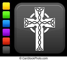 celtic cross icon on square internet button - Original...