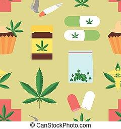 Medical marijuana pattern. Vector illustration, EPS 10