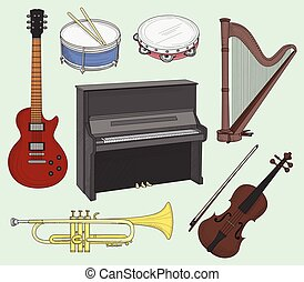Musical instruments set. Big collection of vector music...