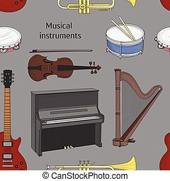 Musical instruments pattern. Big collection of vector music...