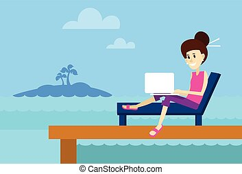 Woman On Sunbed Using Laptop Freelance Beach Remote Working...