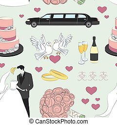 Wedding day pattern. Love- heart- rings -limuzin- cake and...