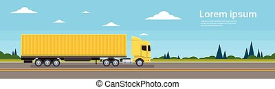 Truck Trailer Road Cargo Shipping Freight Transportation...