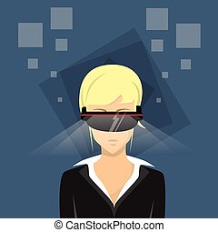 Business Woman Virtual Reality Cyber Play Video Game Wear...