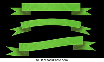 Animated ribbon banners for your text. Green. Matte channel...