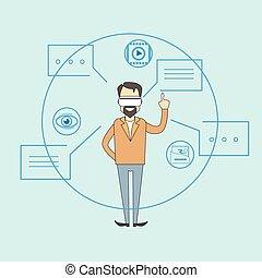 Man Virtual Reality Digital Glasses Sketch Background Dialog...